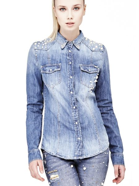 Jeansbluse Perlen - Guess