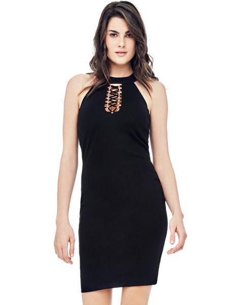 Neckholder-Kleid Korsett | Bekleidung > Kleider > Neckholderkleider | Schwarz | Polyester - Viskose | Guess