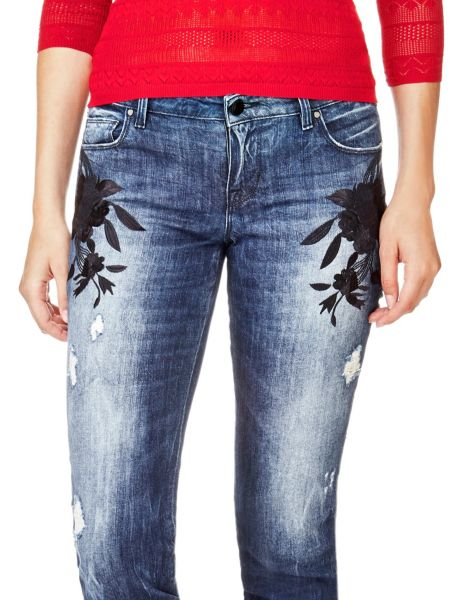 Jeans Slim Ricami Fiori