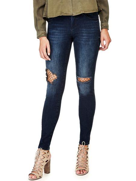 Jeans Dettaglio Maglia A Rete