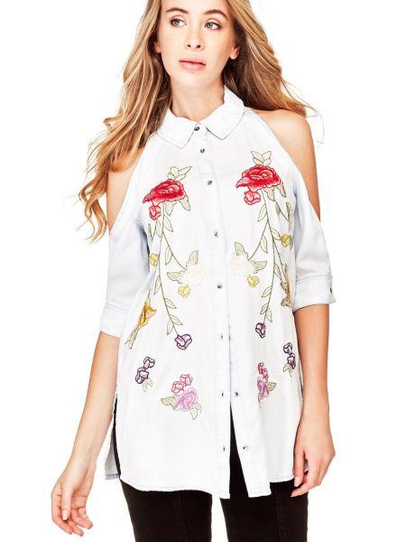 Lange Jeansbluse Blumenstickereien - Guess