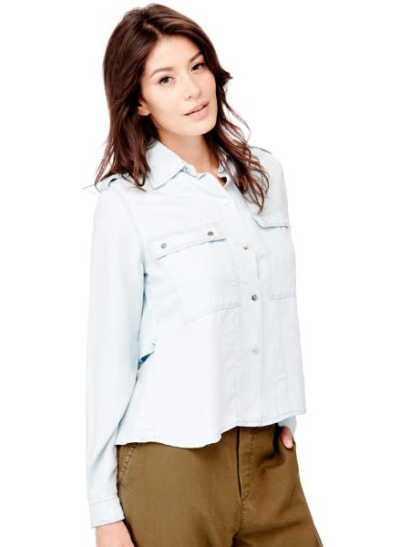 Jeansbluse Volants Hinten - Guess