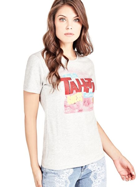 T-Shirt Stampa Frontale Strass