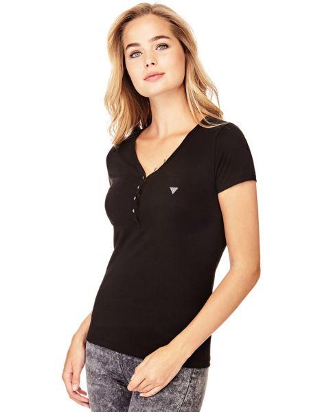 Imagen principal de producto de Camiseta Cuello En V Botones - Guess