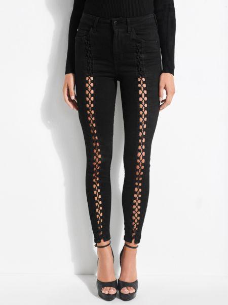 Jeans Grosses Detail Korsettstil | Bekleidung > Jeans | Schwarz | Baumwolle - Polyester | Guess