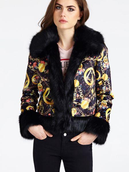 Jacke Details Kunstfell   Bekleidung > Jacken > Sonstige Jacken   Mehrfarbig schwarz   Guess