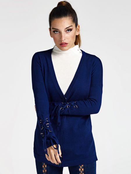 Cardigan Detail Korsettstil | Bekleidung > Pullover > Sonstige Pullover | Dunkelblau | Wolle | Guess