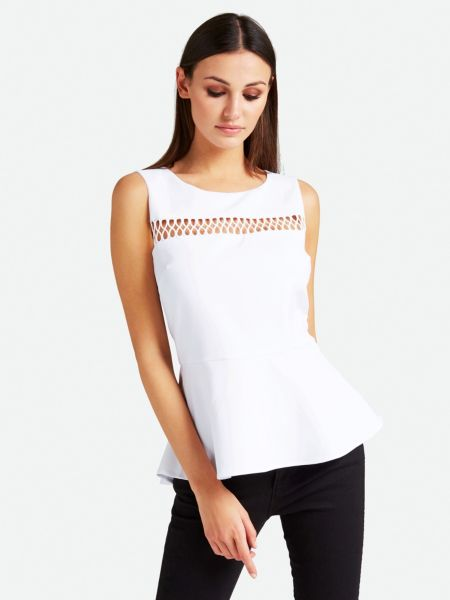 Top Detail Volant | Bekleidung > Tops > Sonstige Tops | Weiß | Polyester | Guess