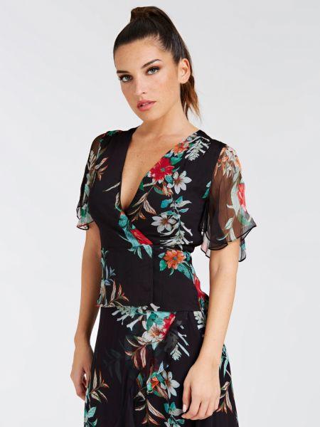 Bluse Aus Seide Kimonostil | Bekleidung > Homewear > Kimonos | Mehrfarbig schwarz | Seide | Guess