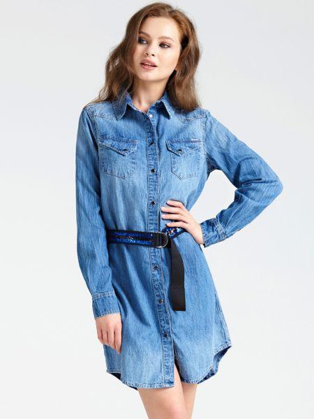 Jeanskleid Gürtel Pailletten | Bekleidung > Kleider > Jeanskleider | Blau | Denim | Guess