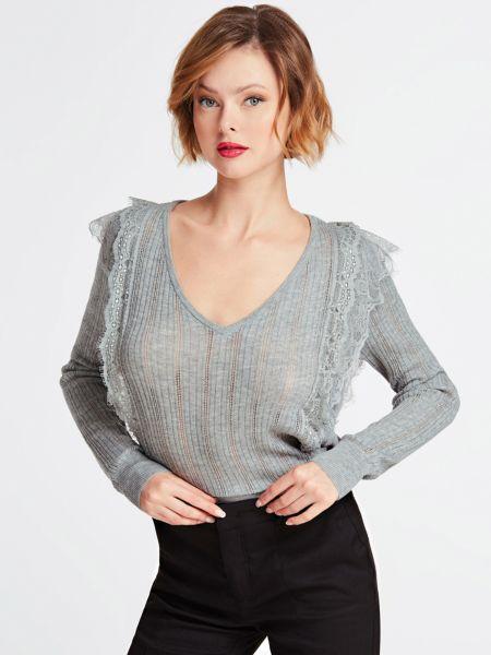 Pullover Spitzeneinsätze | Bekleidung > Pullover > Sonstige Pullover | Grau | Polyester - Polyacryl - Polyamid | Guess