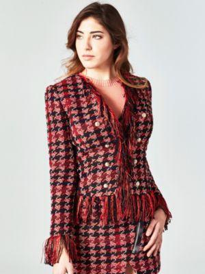 Chaqueta plumas roja mujer