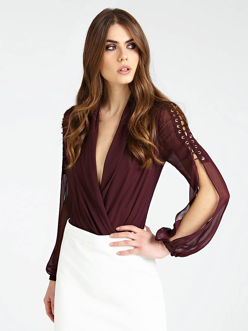 buy popular 5475e 38bf3 MARCIANO BODYSUIT WITH LACE-UP AT SLEEVES
