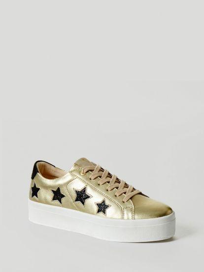 Guess Sneaker Fhalstar En Cuir Metallise