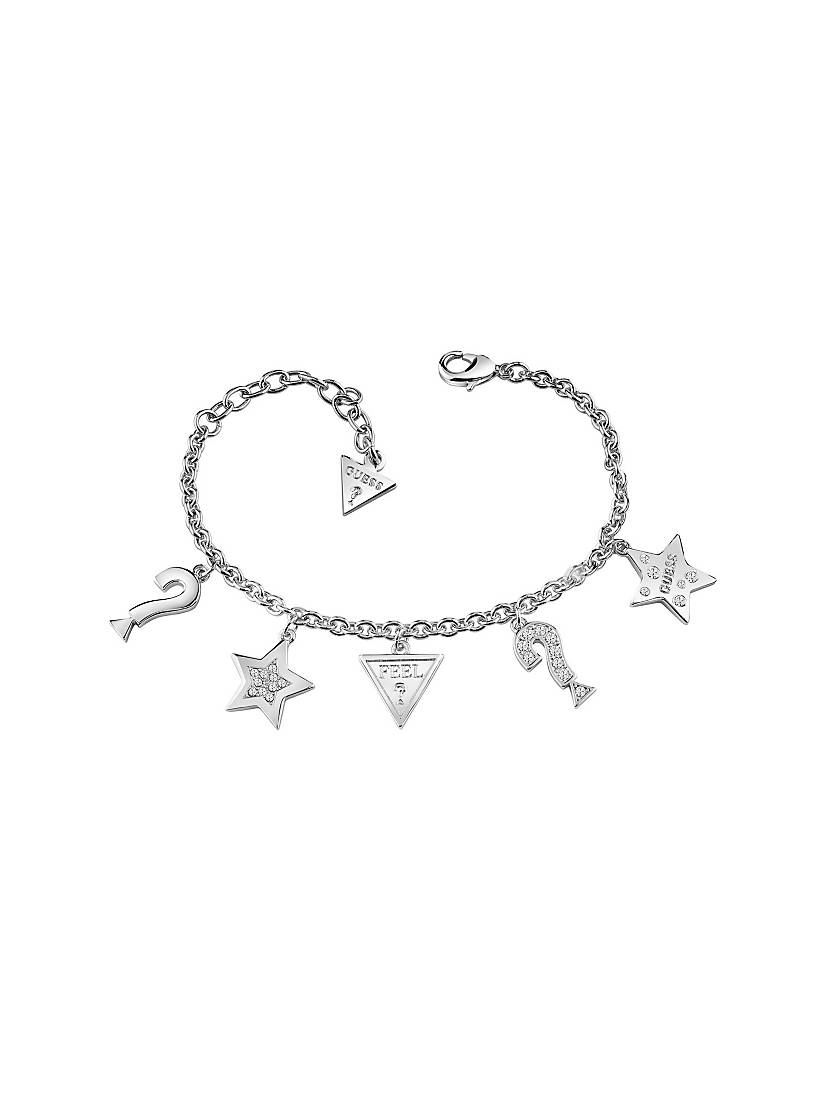 Feel Guess Rhodium Plated Bracelet With 5 Charms