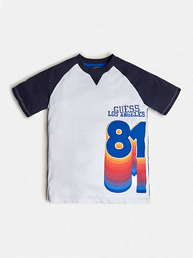 T-SHIRT WITH COLOUR BLOCK AND LOGO PRINT
