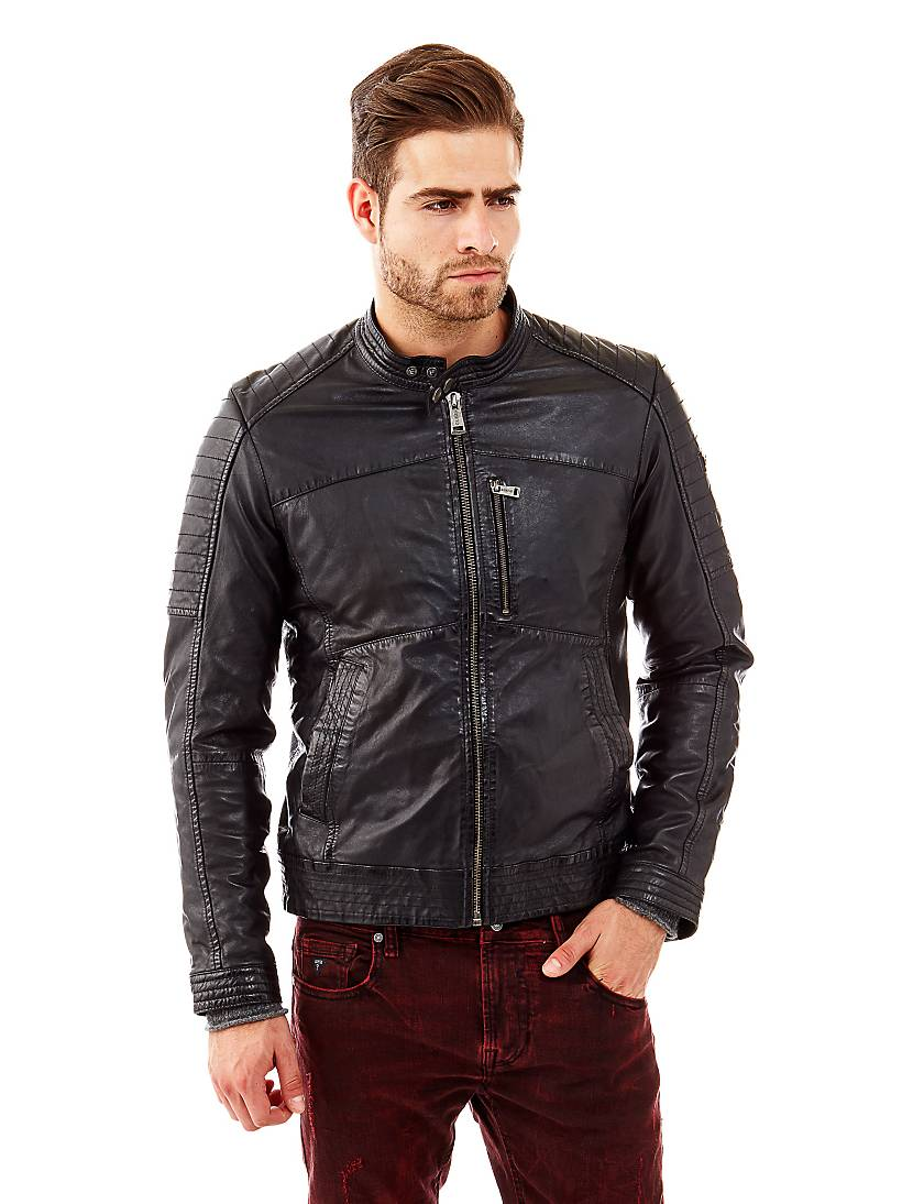 buy popular 447c1 bbdca Giacca biker in pelle | GUESS.eu