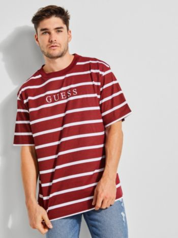 Stripe Motif Logo T Shirt Guess Eu