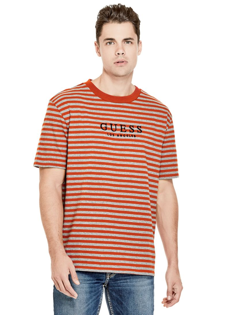 T Shirt Motif A Rayures Logo Guess Eu