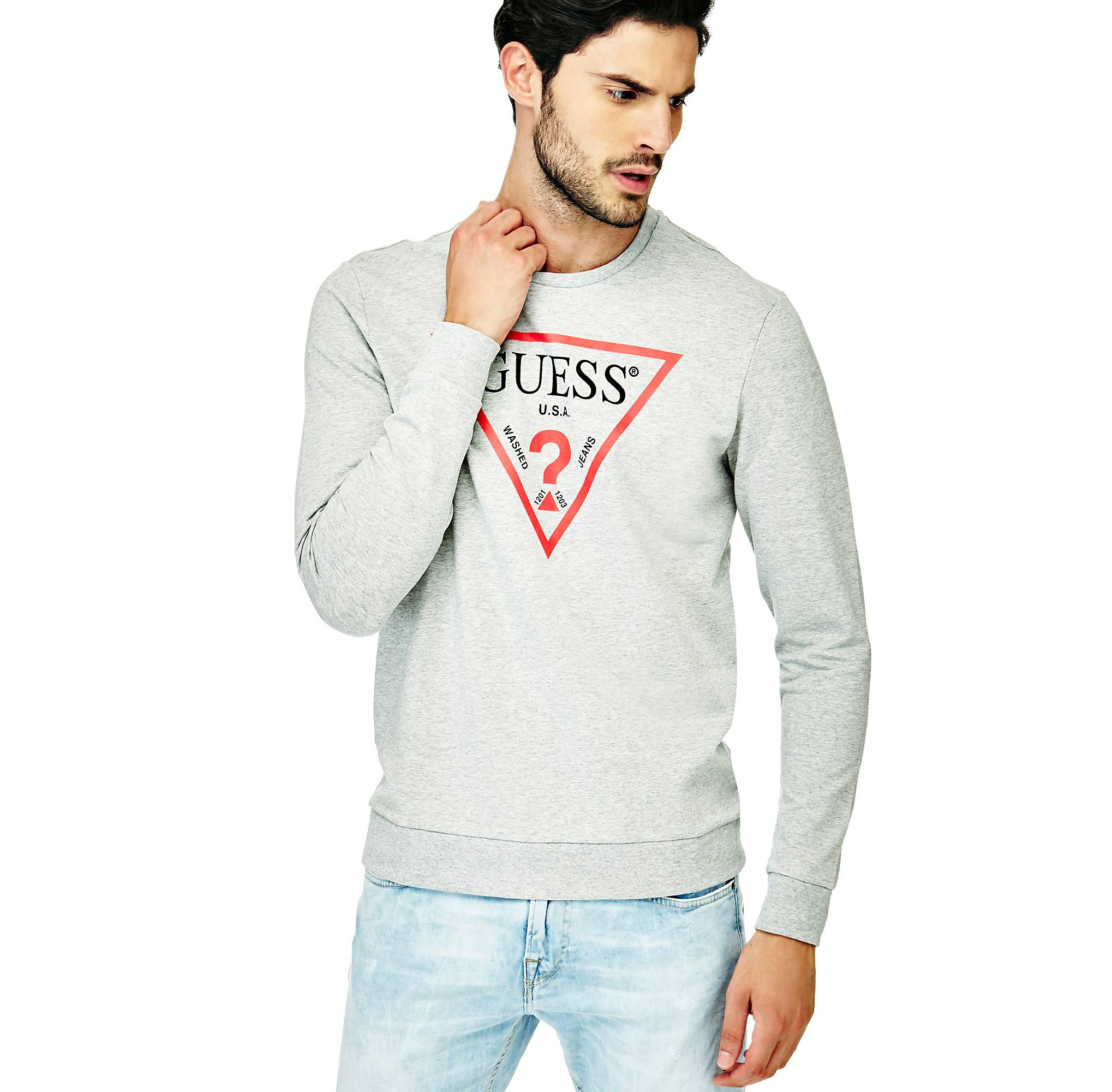 Guess Shirt eu Logo Triangulaire Sweat HxZPP