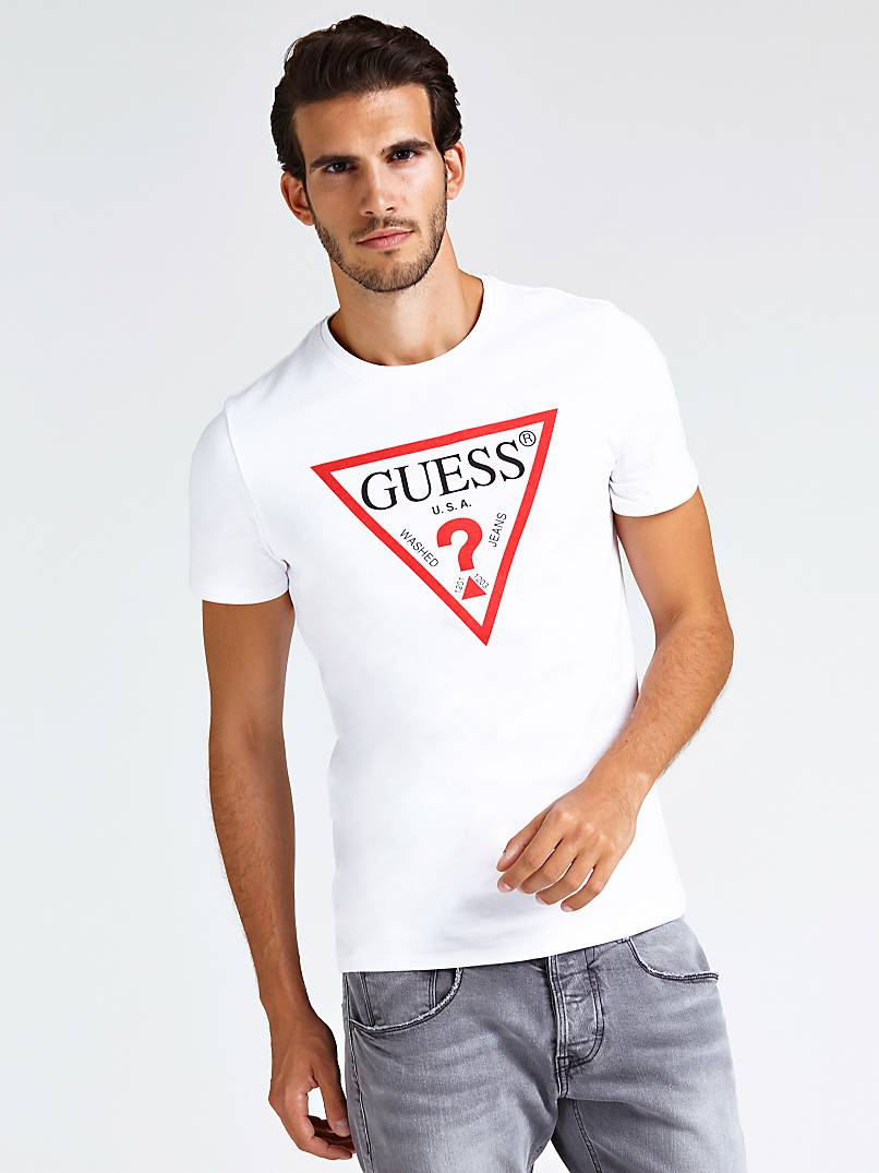 Printed Triangle Logo Front T Shirt by Guess