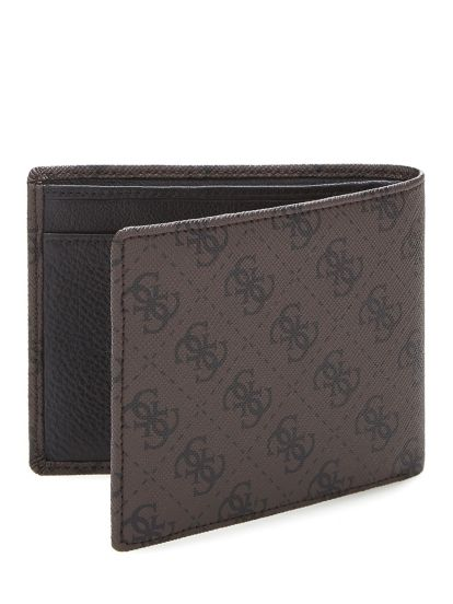 GUESS City Logo Billfold with Flap Brown