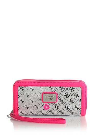 Ivian Logo Zip Around Wallet Guess offerta