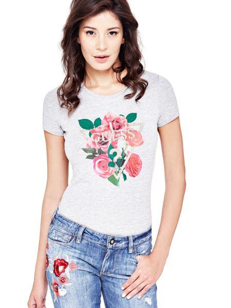 T shirt imprime frontal fleurs