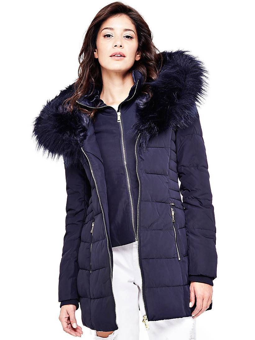 cheap for discount 7fc3c 68a11 QUILTED DOWN JACKET FAUX FUR HOOD | GUESS.eu