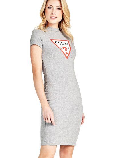 Vestido Triángulo Logo guess el-gris Algodón