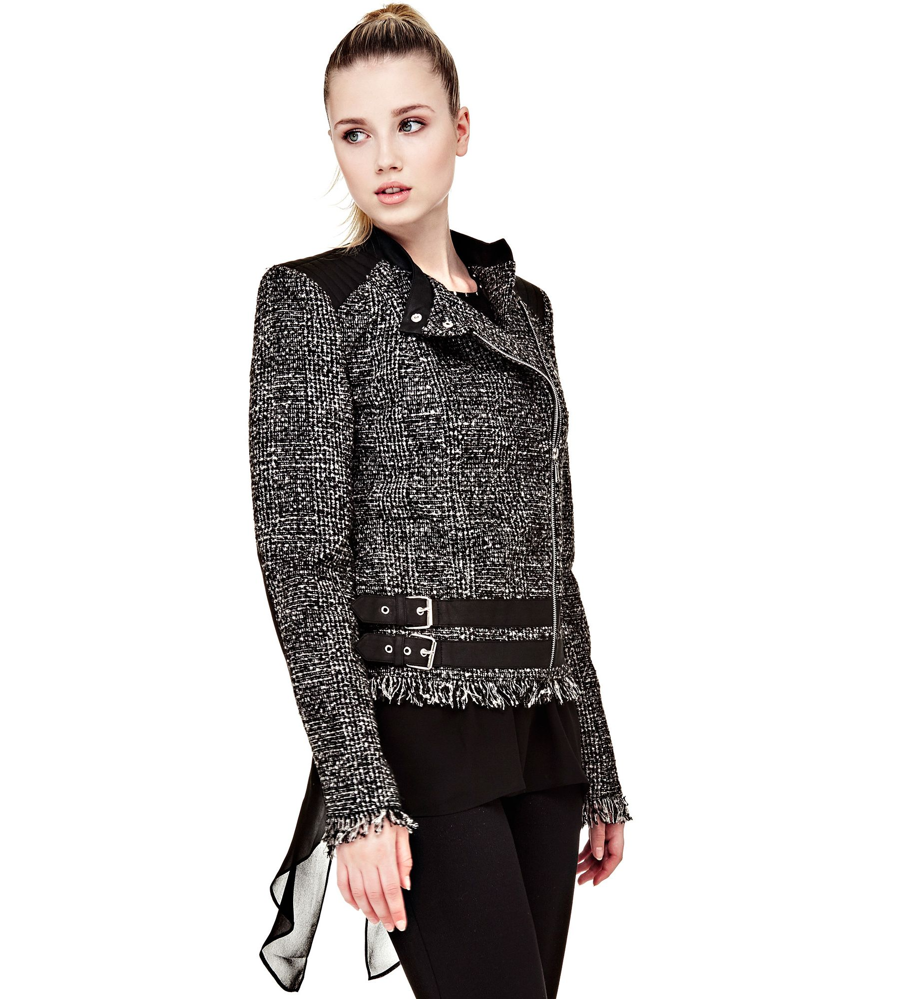 GIACCA EFFETTO TWEED CINTURE