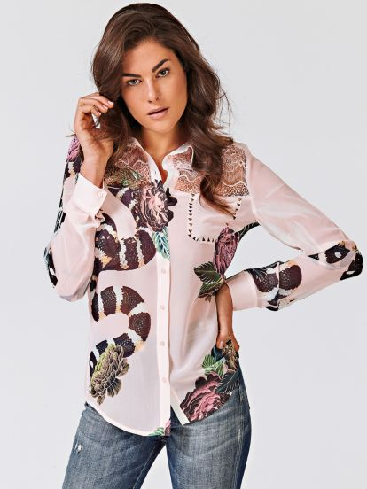 Camisa Estampada Encaje Frontal guess el-rosa Flores